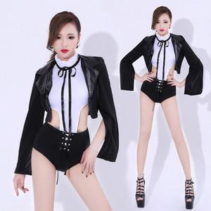 Черный джаз танец костюм Ночной клуб Singers Dancer Performance Одежда Костюм DJ Pole Dance Stage Wear Uniform