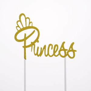 Cake Toppers Bandiere Princess Queen Girl Glitter Cupcake Topper Bambini Compleanno Matrimonio Sposa Torta Festa Baby Shower Cottura Fai da te 20pz