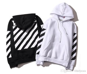 off hoodie ow European and American tide brand striped slash sweater autumn and winter high street men and women couple models hooded 0123