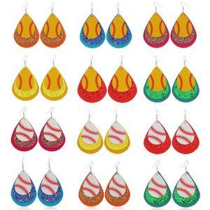 Мода Waterdrop искусственная кожа серьги три слоя блесток Бейсбол серьги болтаться Шарм кулон Ушной крючок Eardrop женщины дизайнер ювелирных изделий подарки