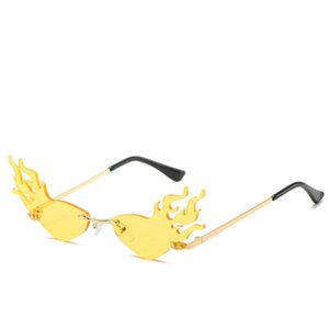 firewave sunglasses YOOSKE Flame Sunglasses Women Fashion Rimless Sun Glasses Ladies Brand Design Luxury Party Fire Wave Eyewear LiIQR VfAOB