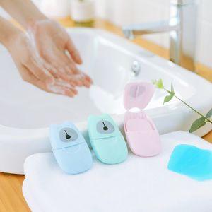 50sheets / 개 일회용 안티 먼지 미니 여행 비누 종이 세척 손 목욕 청소 휴대용 박스형 거품 비누 종이 향기 시트 EEA1532