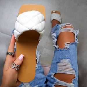 2020 Women Slippers Flat Sandals for women Summer women square toe sandals Outdoor Flip-flops Beach Shoes Plus Size 36-43 Y200706
