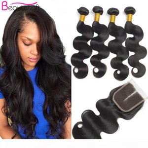 Brazilian Body Wave with Closure 4x4 Middle Part Human Hair Bundles with Lace Closure Soft Remy Hair Extentions Bundle Grade 8a 5pcs lot