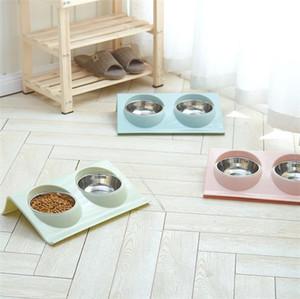 cuenco del gato del perro pet plástico alimentador de PP y acero inoxidable material de recipiente para perros tazón multifunción antideslizante mascota