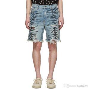 19SS AM1R1 patrón de cebra pantalones cortos Jeans agujero Casual moda suelta recta deporte pantalón transpirable calle pantalones vaqueros cortos HFYMKZ160
