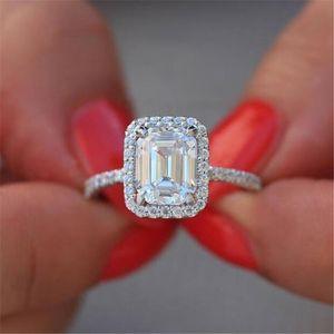 Size 5-10 Sparkling Luxury Jewelry 100% Real 925 Sterling Silver Emerald Cut White Topaz CZ Diamond Gemstones Promise Women Wedding Ring
