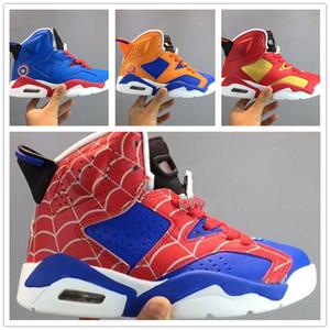 Designer Brand Big bambini Spiderman 6 6S scarpe da basket Scarpe sportive delle ragazze dei ragazzi Superman Sneakers bambini Chaussures carrello Enfant SZ 28-35