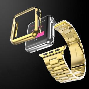 Aço inoxidável Strap Banda w / adaptador + Case Capa Compatível para Apple Watch Series 5/4/3/2 (Gold)