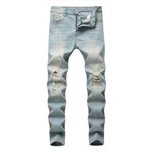 Mode Waschen Lässige Light Blue Denim Distressed dünne Ausdehnungs Cowboy Lokomotive Biker Hip Hop Straßen-Jeans Männer