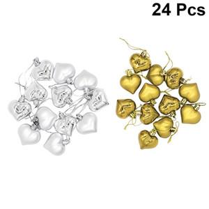 24PCS 4.5CM شجرة عيد الميلاد الشنق زخرفة على شكل قلب الكرة الديكور عيد الميلاد الشنق الديكور (ذهبية وفضية)