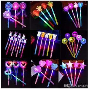 palillo de la luz de dibujos animados concierto llevado vendedor caliente juguetes de los niños palillo mágico de hadas palillo de destello llevado juguetes ligeros