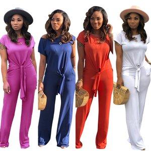 Sıcak Satış Yüksek Kalite Katı Kadın Pantsuits Kısa Kollu O Boyun Lace up T Gömlek ve Uzun Düz Pantolon Iki adet Setleri Rahat Yaz 2019