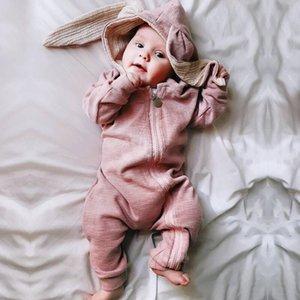 Симпатичные уха кролика с капюшоном Baby Rompers для младенцев мальчиков Одежда для девочек Одежда для новорожденных Комбинезон для новорожденных Costume Детские Костюмы