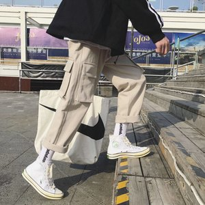 Moda Vintage Joggers Pantalones 2019 pantalones para hombre de Carga Streetwear Hip hop Hombre Plaid pantalones High Street Japón Pantalones de primavera varones LY191205