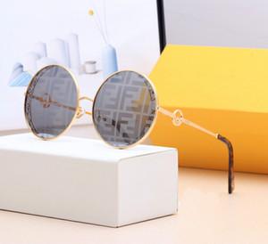 Alta qualidade óculos de sol redondos Mulheres homens metal molduras de espelho UV400 lentes feminina óculos de sol retro masculino com casos e caixa original