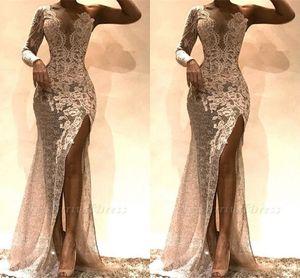 Date gaine une épaule avant côté fente complète dentelle robes de bal Long 2019 robe de soirée rose clair personnaliser