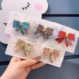 New Girl Lovely Cute Korean Children's Hair Accessories Lace Bow Clip Princess Lace Gold Powder Hair Clip Girl's Sweet Headdress