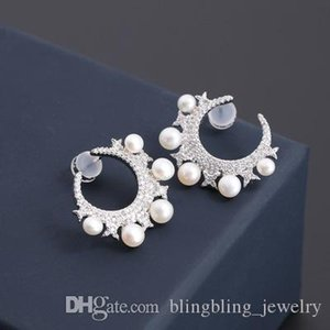 European And American Style New Silver Star Moon Pearl Earrings Elegant Earrings Valentine's Day Gifts Zircon Ear Jewelry Wholesale