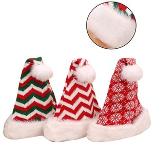 3pcs Decorative Plush Santa Hat Adult Knitted Wool Ball Striped Snowflake Christmas Hat Set for Women Men Adults (Assorted Color