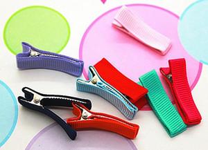DIY Весь покрытый зажим ленты для волос аксессуары 35MM полностью выложены Аллигатор двойной зубец клипы Девушка бигуди цветков Hairband 100шт FJ3228