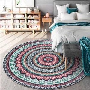 Moda bohemia zona alrededor de Alfombras Mandala del estilo étnico de la sala Alfombras dormitorio silla colgante de la cesta antideslizante de la estera del piso de la manta