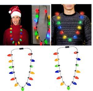 13 Bulb LED Flashing Necklace Light Bulbs Flashlight Luminous Christmas Decorations Charm Party Favor Gift Supplies 100pcs DHL SHIP HH9-2404