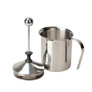 Aço inoxidável 800 ml Leite Frother Cappuccino Creamer Espuma Coffee Pull Flower Cup malha dupla de leite frothers canecas
