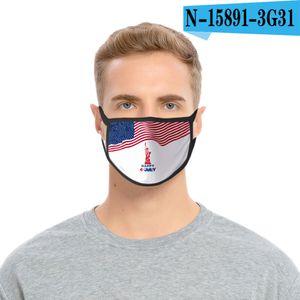 36styles 3D US Flag Mask American Independence Day Maschera maschere antipolvere lavabile 2020 Bocca calotta di protezione Modo GGA3511-12