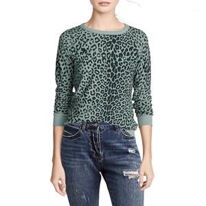El diseñador de moda suéter suéter de las mujeres Leopard Impreso invierno y otoño Casual Manga larga del cuello de equipo suéteres del suéter de las mujeres