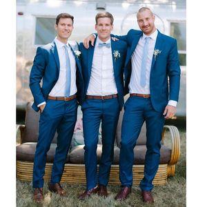 Royal Blue Slim Fit 2020 Groom Tuxedos Wedding Tuxedos Suits Custom Made Groomsmen Best Man Prom Suits Black Pants
