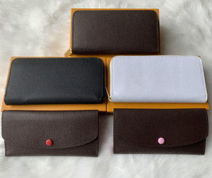 Wholesale 6 colors fashion single zipper men women leather wallet lady ladies long purse with orange box card 60017777