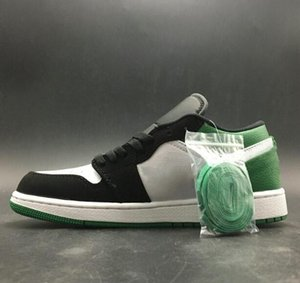 2020 Cheap Newest 1 Low White Black Mystic Green Man Basketball Designer Shoes Amazing I Green Toe Fashion Woman Sport Sneakers With Box