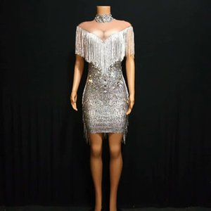 2020 Women Birthday Celebrate Fringes Dresses Silver Rhinestones Stretch Dress Singer DJ Stage Evening Clothing Stage Outfit