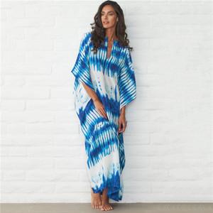 Blue Bohemian Striped Bikini Cover-up Casual V-neck Loose Summer Dress Cotton Tunic Women Beach Wear Bathing Suit Cover Up Q1060