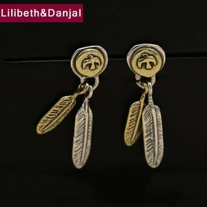 2017 Women Men Drop Earring 925 Sterling Silver Vintage Eagle feather Dangle Earring Male Female Christmas gift Fine Jewelry FE2