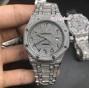 Reloj de plata para hombre Diamante Escala Digital Árabe Top Fashion Diamond Venta caliente Reloj Diamante Relojes mecánicos automáticos de acero inoxidable