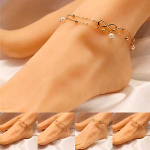 Silber Gold Unendlichkeit Fußkettchen Kette Unendlichkeit mehrschichtige Fußkettchen Armband Fuß Kette Frauen Mode Strand Schmuck wird und Sandy Direktversand 320272