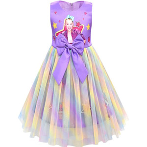 JOJO Siwa de la fille robe de princesse bowknot arc-en-Mesh robe de bal robe 110-150CM enfants filles Tutu Jupe Birthday Party Dress