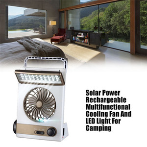 Solar Power LED Fan 2000mAH Rechargeable Multifunctional Cooling LED Light Tent Lantern Lamp Cooler Mini Fan For Camping DHL fast Deliver