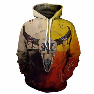 Mens 3D Sheep Head Imprimer Hoodie Europe Style Casual Couple Pull Mode Slim Fit Vêtements