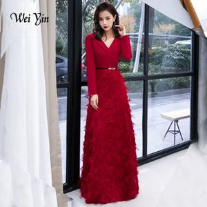 weiyin Wiine Abito da sera rosso 2019 Abiti da sera eleganti in pizzo Abiti formali lunghi Stili Abiti da ballo da donna WY1341