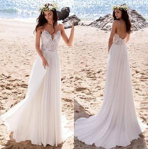 2020 Summer Beach Boho robes de mariée sexy dos nu bretelles spaghetti en mousseline de soie dentelle Top Bohème Robes de mariée Robes de mariée