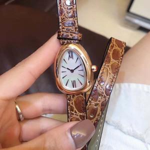 Romantisches Serpenti 28MM Frauen Armbanduhr Doppel Spiral Brown-Leder-Band-Quarz-Uhren der Frauen Damenuhr Perlmutt-Zifferblatt