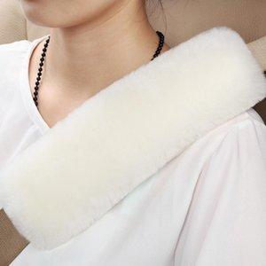 Assento de pele de carneiro Car Pads cinto de ombro Strap Pad Lã Natural Genuine Para adultos juventude caçoa automóvel avião Câmera Backpack Straps