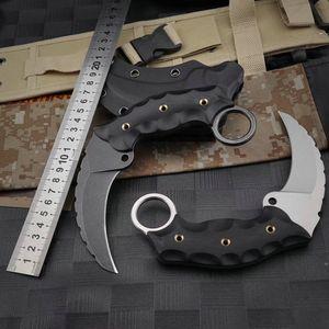 Ka-03 New Style Wild Boar Stone Wash Karambit Csgo Aus-10 G10 Anti-skid Handle with Kydex Sheath EDC Tactical Knife Pocket Claw Knife for Ca