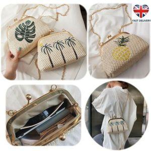 Boho Embroidery Straw Shell Clutch Bag Embroidery Two-tone Clip Beach Crossbody Bags Handbag Womens Summer Messenger Shoulderbag Satchel