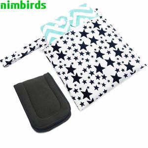 Viajes húmedo impermeable Bolsa de moda imprime seco mojado de la bolsa de pañales de bolsillo del pañal reutilizable Wetbags PUL seco 20x23 cm pañal