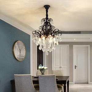Американская современная хрустальная люстра освещение роскошные черные хрустальные люстры светодиодные подвесные светильники для прихожей спальни столовой кухни