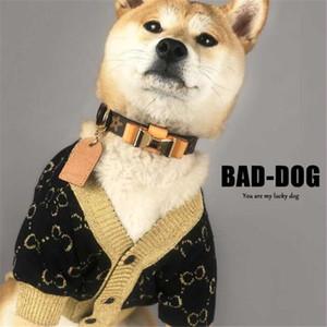 Bahar Moda Letter Pet Kazak INS Moda Baskılı Desen Evcil Coats Retro Yumuşak Dokunuş Chai Keji Köpek appare